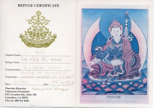Buddhist Refuge Certificate