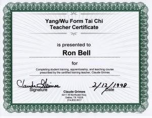Gold Wing Psychic Yang/Wu Form Tai Chi Teacher Certificate