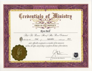 Gold Wing Psychic Ron Bell - Universal Life Church Minister Certificate
